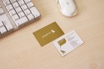 Printed business cards on desk